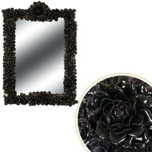 Specchiera fiori Nera