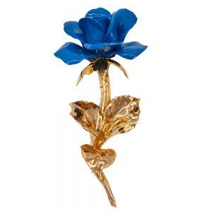 Rosa blu stelo oro lucido