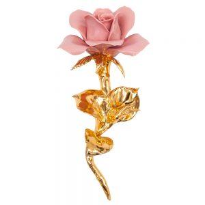 Rosa rosa stelo oro lucido